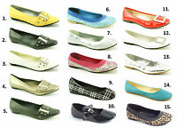 LADIES WOMENS NEW FLAT BALLERINA LOAFERS FLATS SLIP ON SUMMER PUMPS SHOES SIZE
