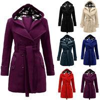 Fashion Women's Hooded Long Double-Breasted Trench Coat Jacket Windbreaker Tops
