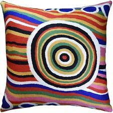 "Hundertwasser Big Way Modern Decorative Pillow Cover Handembroidered Wool 18x18"""