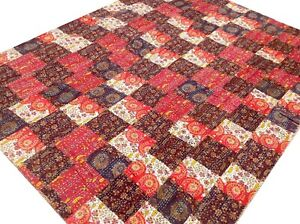 Quilt Patchwork King Handmade Cotton Bed cover Kantha Floral Red India Boho G8