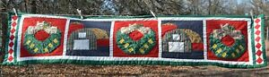 """QUILTED Table Runner  BArns & Wreaths HOLIDAY THEMED red/green/blue 16x70"""""""