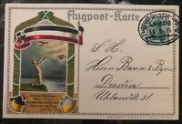 1914 Dresden Germany Postcard Early Flugpost Pioneer Flight Cover FFC To Leipzig