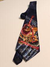 Renaissance Tie - Guitars On A Dark Purple 100% Polyester Neck Tie