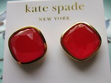 KATE SPADE New York Stud EARRINGS CHERRY BOMB BEZEL SET BRIGHT RED HUGE!