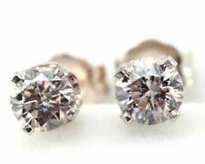0,42ct Genuine Champagne Diamond 14K 14KT Solid White Gold Earrings Studs