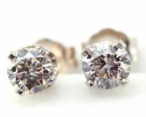 0.62ct Natural Champagne Diamond 14K Solid White Gold Stud Earrings Push Back