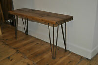 Hairpin Leg Industrial Rustic Bench HANDMADE from Reclaimed Wood