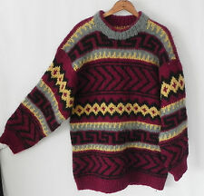 Vtg Turtle Hand Knitted Wool Sweater Chunky Knit Multicolored Tunic Size XL