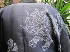 mint/vtg/Edo/navy long kimono, nakajuban,FUDOG motif/,white tie dye, shibori, L
