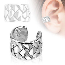 Weave Pattern Rhodium Plated Brass Non Piercing, Fake, Adjustable Ear Cuff