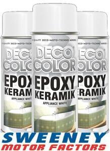DECOCOLOR EPOXY BATH SHOWER SINK APPLIANCE WHITE ENAMEL SPRAY PAINT 400ml