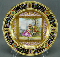 19th Century Royal Vienna Style Hand Painted Courting Couple Raised Gold Plate
