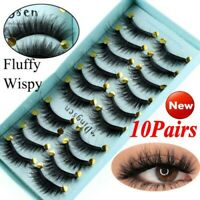 DINGSEN 10 Pairs 3D False Eyelashes Wispy Fluffy Natural Long Lashes Handmade HQ