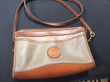 dooney and bourke beige crossbody bag pebbled leather and smooth brown leather