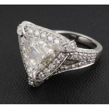 2.86 Ct Near White Trillion Cut Moissanite Engagement Ring 925 Sterling Silver