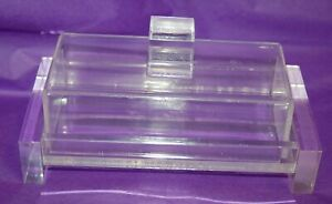 Lucite Clear Acrylic Butter Dish See Through Mid Century Modern MCM  Vintage