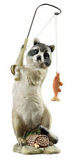 Masked Fisherman Raccoon Statue, Sculpture, Fishing, Design Toscano