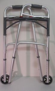 """Drive Medical 10210-4ASM Deluxe Two Button Folding Adjustible Walker (5"""" Wheels)"""