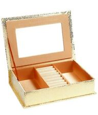 JEWELLERY BOX WITH INTERIOR MIRROR - GOLD SNAKESKIN EFFECT