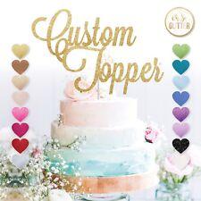 Custom Cake Topper Any Word Name Personalised Customised Rose Gold Glitter