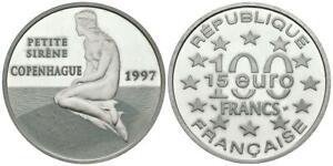 FRANCIA. 100 Francs. 15 Euro. Petite Sirene. Copenhague. 1997. (Ar. 22,21g/37,0