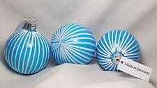 "2.5"" Christborn Germany Mercury Glass Patriotic Blue Striped White Ornament NWT"