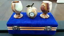 set of 2 stone Onyx goblets and watch apple shape
