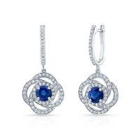 Blauer Saphir Diamant Blume Tropfen 14K Weiss Gold Ohrringe Klee Natürlich Rund