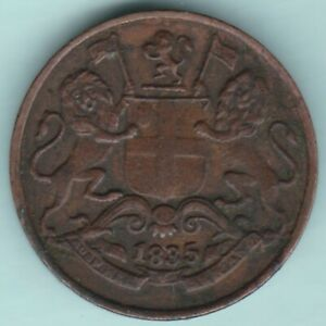 EAST INDIA COMPANY 1835 ONE QUARTER ANNA RARE COIN