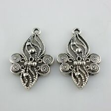 8pcs Tibetan Silver Filigree Hollow Flower Charms Necklace Pendants 18x29.5mm