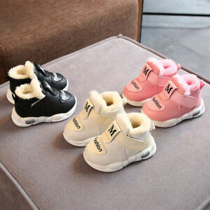 Kids Baby Girl Boy Shoes Non-slip Infant First Walkers Warm Plush Baby Sneakers