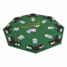 vidaXL Tablero de Póker Plegable 8 Jugadores Octagonal Verde Mesilla Auxiliar