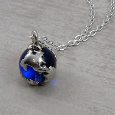 Silver Blue Earth Globe Charm Necklace - World Map Traveler Pendant Jewelry NEW