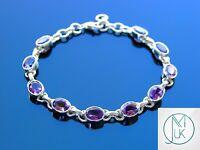 Solid 925 Sterling Silver Amethyst Natural Gemstone Elegant Bracelet Quartz