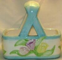 Springtime Basket Planter Teleflora Gift Ceramic Spring Vintage Pastel Colors!