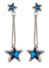 CLIP ON EARRINGS - silver drop earring with blue crystal stars - Kalidas S