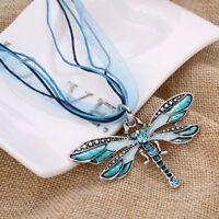Long Chain Necklace Rhinestone Jewelry Enamel Dragonflies Dragonfly Pendant