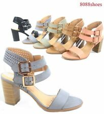 56ab6c72f62a5 Women s Buckle Open Toe Ankle Strap Chunky Heels Sandals Shoes Size 5.5 -  11 NEW