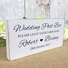 Personalised Wedding Post Box Sign Free Standing Wooden Sign Shabby but Chic