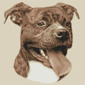 Staffordshire Bull Terrier Brindle (Sepia) Cross Stitch Design (kit or chart)
