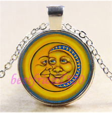 Sun & Moon Face Photo Cabochon Glass Tibet Silver Chain Pendant Necklace#N54