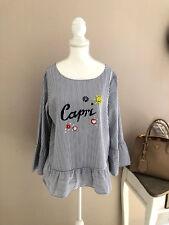 GRACE Bluse Tunika Shirt Volants weiß blau Perlen Applikationen M 38 40 NP 139,-