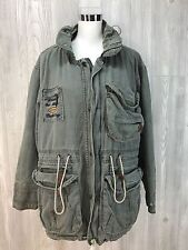 Vtg 80's BEAT UP Distressed Military Looking Bomber Baggy Oversized Canvas Coat
