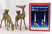 """Brass Reindeer Deer Doe Christmas Taper Candle Holders 5"""" Buck 6"""" Vintage"""