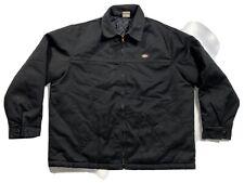 DICKIES Mens XXL Black Canvas Quilted Lining Work Jacket Coat Regular EUC 2XL