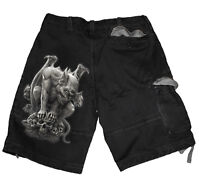 Spiral Direct CUSTODIAN Vintage Cargo Shorts Black/Skull/Goth/Cross/Gargoyle