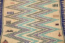 Vintage Geometric ZIG/ZAG Brown Gabbeh Area Rug Hand-Knotted Wool Carpet 4' x 6'