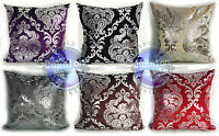 "LARGE VELVET SILVER DAMASK PATTERN CUSHIONS OR COVERS 2 SIZES 20x20"" & 17x17"""