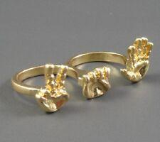 R121 Betsey Johnson Paper Scissor Stone Childhood Game Two Rual Finger Ring US