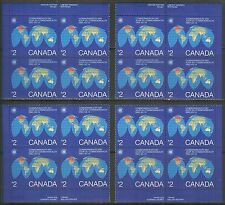 Canada #977, 1983 $2 Commonwealth Day - Map of the Earth, 4-Corner PB4 Set NH